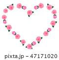 ハート型の薔薇のフレーム ピンク色 47171020