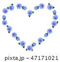 ハート型の薔薇フレーム 青色 47171021