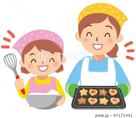 お菓子を作るお母さんと女の子 47171441