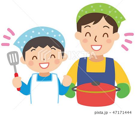 料理するお父さんと男の子 47171444