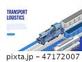 Train on railroad near transport logistics description 47172007