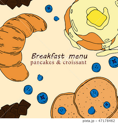 Hand drawn illustration of breakfast menu  47178462