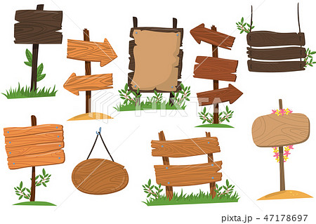 Set of wooden signs of various forms, tablets indicating index arrowhead way cartoon vector 47178697