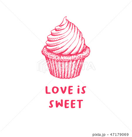 Valentines Day Cupcake Greeting Card or Poster with Sketch. Laser Cutting File Isolated on White 47179069