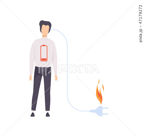 Charging businessman with low battery, emotional burnout concept, stress, headache, depression 47179272