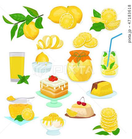 Lemon food vector lemony yellow citrus fruit and fresh lemonade or natural juice illustration set of 47183618