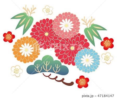 カット素材-和風松竹梅花 3 47184147