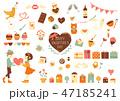 バレンタイン 素材セット 47185241