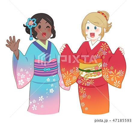 着物の外国人女性 47185593