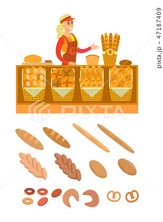 Supermarket Seller of Bread and Bakery Vector 47187409