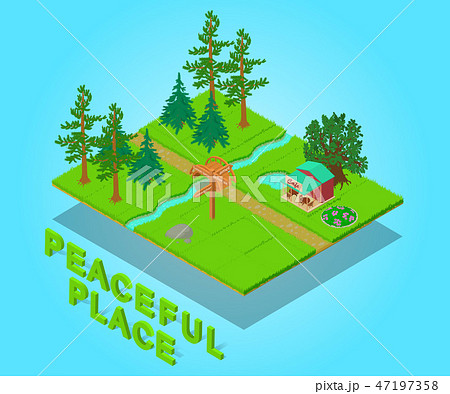 Peaceful place concept banner, isometric style 47197358