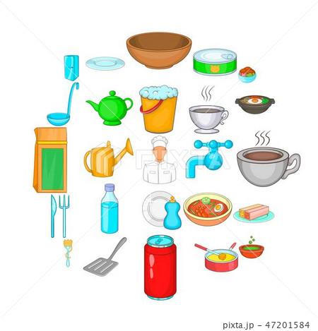 Cuisine icons set, cartoon style 47201584