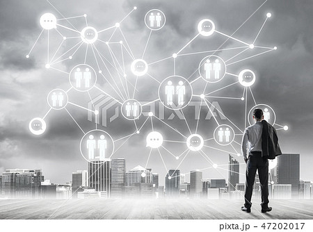 Social connection concept drawn on screen as symbol for teamwork 47202017