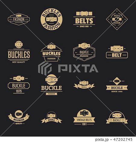 Belt buckle logo icons set, simple style 47202745
