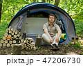 リュック キャンプ 男性の写真 47206730