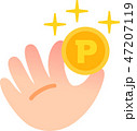 ポイントのコインを持つ手 47207119
