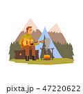 キャンプファイヤー ベクトル ハイキングのイラスト 47220622