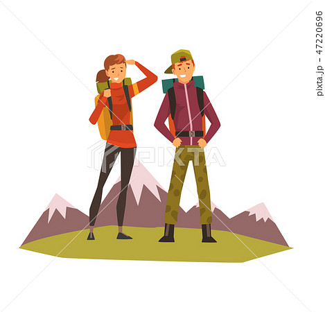 People travelling, couple hiking, mountain landscape, backpacking trip or expedition vector 47220696