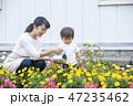 ガーデニング 花壇 親子の写真 47235462