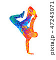 Abstract young man break dancing from splash of watercolors 47243071