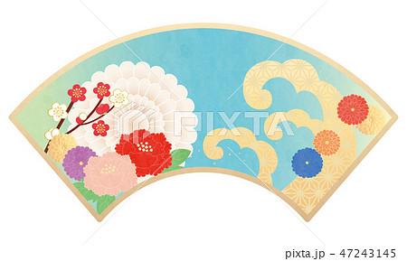 カット素材-和柄花,扇 4テク 47243145