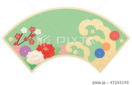 カット素材-和柄花,扇 2 47243150