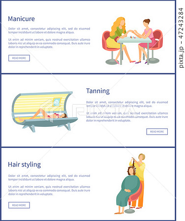 Manicure and Tanning Process Posters Set Vector 47243284