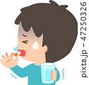 薬を飲む風邪を引いた男性 47250326