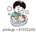 赤ちゃんを沐浴させるお父さん 47252243