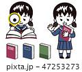 辞書を読む中高生の女の子 47253273