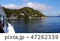 びわ湖遊覧船から竹生島港付近、三重塔、竹生島神社、宝厳寺をみる 47262339