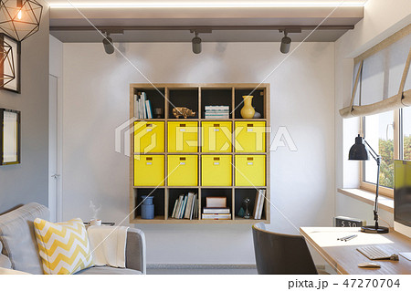 High Quality 3d Illustration Of Interior Design Concept For Home Office