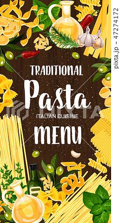 Italian pasta and green seasonings menu 47274172