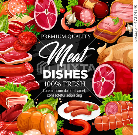 Pork, beef meat and sausages frame, butchery shop 47274540