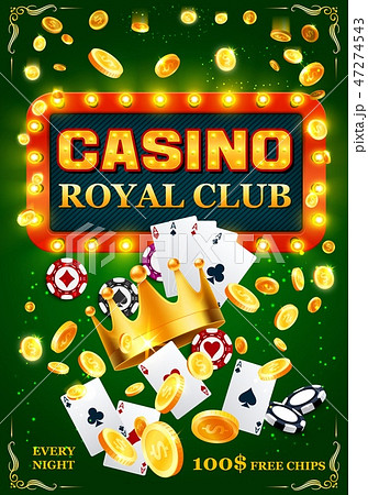 Casino poker cards, chips and golden coins 47274543