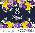 3月 March カードのイラスト 47274561