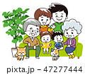 ソファーで家族団欒 47277444