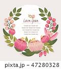 フレーム フローラル 花輪のイラスト 47280328
