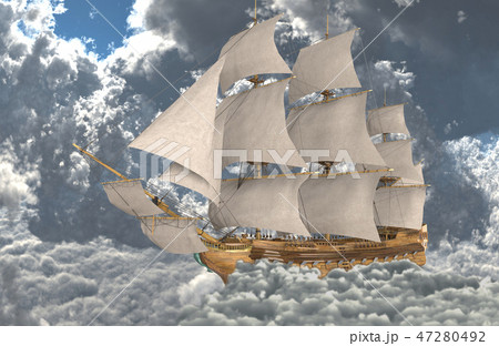 Sailboat flying above the clouds 3d illustration 47280492
