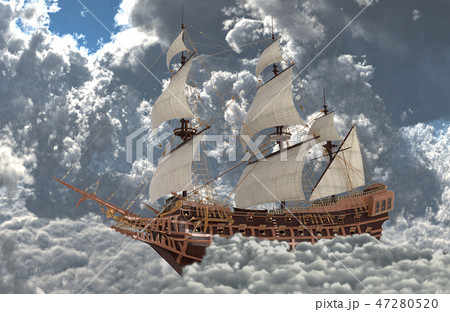 Sailboat flying above the clouds 3d illustration 47280520