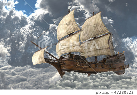 Sailboat flying above the clouds 3d illustration 47280523