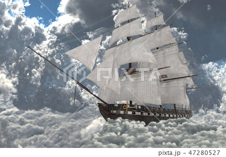 Sailboat flying above the clouds 3d illustration 47280527