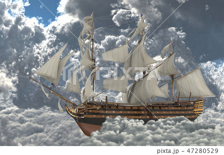 Sailboat flying above the clouds 3d illustration 47280529