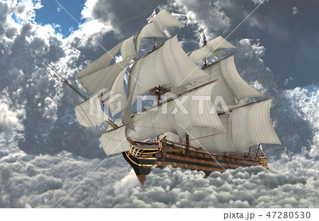 Sailboat flying above the clouds 3d illustration 47280530