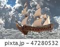 セイルボート 帆かけ舟 帆掛け船のイラスト 47280532