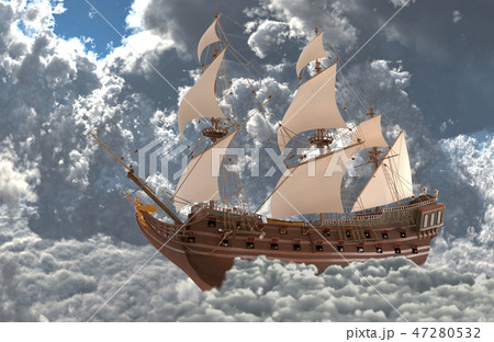 Sailboat flying above the clouds 3d illustration 47280532
