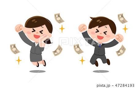 お金儲けするスーツ姿の男性・女性 47284193