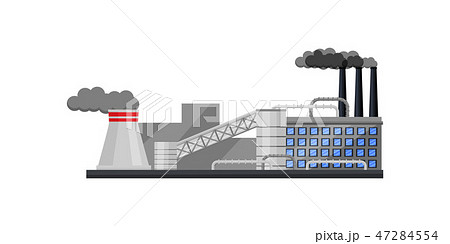 Large factory with building, smoking chimneys and cooling tower. Thermal power plant. Flat vector 47284554