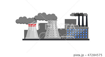 Nuclear power plant with buildings and smoking pipes. Manufacturing factory. Industrial architecture 47284575