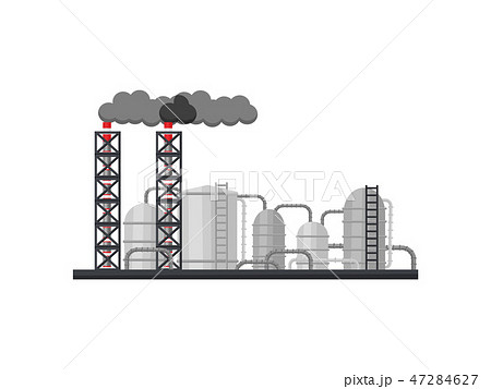Metallurgical plant. Manufacturing factory with long smoking chimneys, metal cisterns and pipes 47284627
